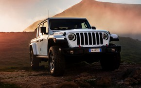 Picture white, SUV, pickup, Gladiator, in the mountains, 4x4, Jeep, Rubicon, 2019