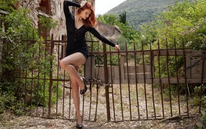 Picture forest, cleavage, trees, bushes, fence, redhead, ruins, erotic, broken, outside, sexy woman, looking, hillside, attractive, …