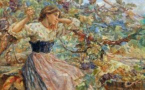 Picture Girl, Picture, Grapes, Alessandro Battaglia, Алессандро Батталья, Сбор винограда, Итальянский живописец