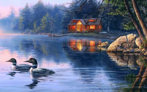 Picture forest, light, trees, birds, branches, nature, lights, fog, lake, house, reflection, river, stones, shore, figure, …