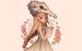 Picture flowers, background, skull, girl