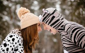 Picture winter, girl, snow, joy, snowflakes, mood, hat, laughter, makeup, hairstyle, pair, outfit, brown hair, guy, …