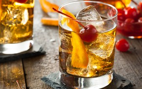 Picture ice, cherry, glass, orange, alcohol, cocktail