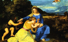 Picture picture, religion, Titian, mythology, The Madonna and child, little John the Baptist, Tiziano Vecellio