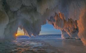 Picture sea, the sun, rays, sunset, nature, ice, the grotto, Vladimir Ryabkov, island kharantsy