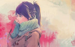 Picture cold, autumn, girl, art