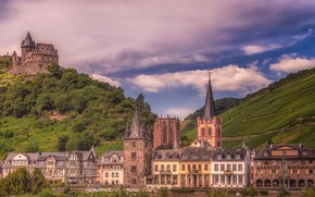 Picture the sky, the sun, clouds, trees, mountains, castle, field, home, Germany, Bacharach