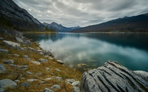 Picture forest, mountains, lake, stones, shore, pond
