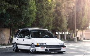 Picture Honda, White, Tuning, Civic, Stance, Vehicle, Honda Civic Wagon