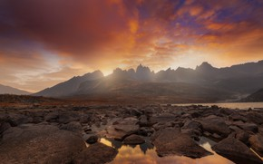Picture water, sunset, mountains, lake, stones, Canada, Tombstone Territorial Park