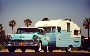 Picture Blue, Bel Air, Trailer, Station Wagon, Nomad, Camping, 1956 Year