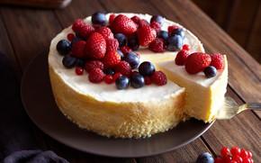 Picture berries, raspberry, strawberry, dessert, cakes, cheesecake