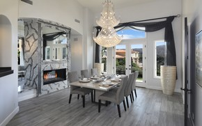 Picture table, chairs, interior, mirror, chandelier, fireplace, dining room