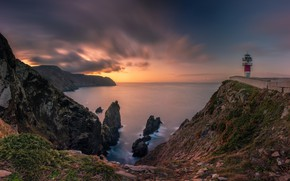 Picture sea, the sky, clouds, sunset, stones, open, rocks, shore, view, lighthouse, the evening, slope, horizon