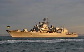 Picture Sunset, Ukraine, Navy, Ukrainian Navy, Hetman Sahaidachny, F130, The Ukrainian Navy