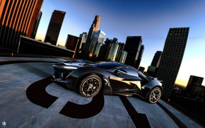 Picture Auto, Black, The city, Rendering, Supercar, Concept Art, Sports car, SuperSport, Transport & Vehicles, Benoit …