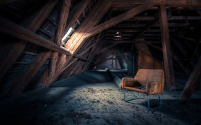 Picture house, chair, attic