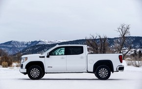 Picture white, side view, pickup, GMC, Sierra, AT4, 2019