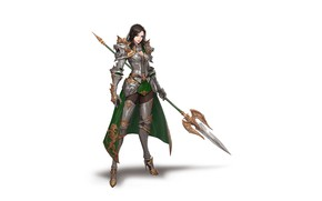 Picture Girl, Fantasy, Beautiful, Art, Style, Fiction, Background, Illustration, Minimalism, Armor, Spear, Figure, Character, Junq Jeon, …