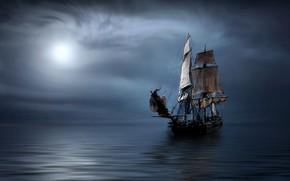 Picture sea, ship, sailboat, sails, frigate