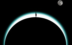 Picture earth, the moon, people, silhouette