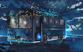 Picture water, night, nature, girl, bus, Crescent