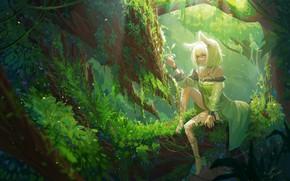 Picture girl, nature, tree, fantasy, Arknights, Kaltsit