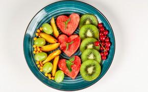 Picture watermelon, kiwi, grapes, fruit, peaches, currants