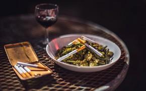 Picture wine, food, cigarette