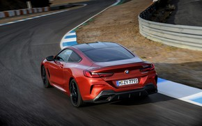 Picture asphalt, coupe, BMW, the fence, track, Coupe, 2018, 8-Series, dark orange, M850i xDrive, Eight, G15