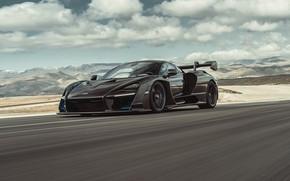 Picture machine, asphalt, mountains, supercar, McLaren Senna
