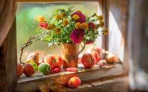 Picture flowers, window, still life, tomatoes