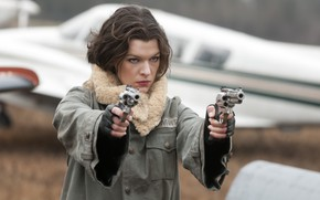 Picture look, pose, weapons, Milla Jovovich, Milla Jovovich, Alice, Resident Evil Afterlife, Resident evil 4: Life …