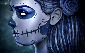 Picture girl, face, rose, skull, makeup, art, day of the dead, sugar skull