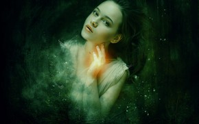 Picture forest, look, girl, light, face, hand, portrait, art, green background, bokeh