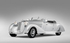 Picture old, retro, grey background, rarity, 1938, Horch, 853, Special Roadster by Erdmann & Rossi