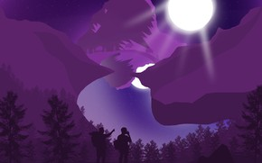 Picture mountains, night, fog, reflection, lights, river, the moon, river, brothers, the full moon, hike, forest, …
