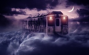 Picture the sky, night, the moon, train