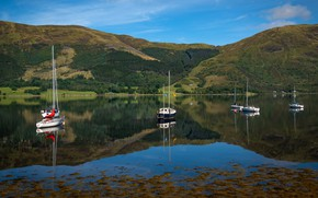 Picture greens, summer, mountains, lake, reflection, blue, hills, boats, Scotland, pond, blue sky, sailing, boats