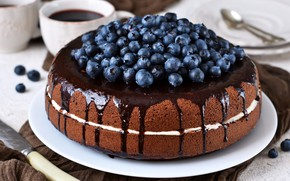 Picture coffee, chocolate, cake, blueberries