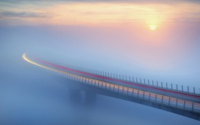 Picture bridge, fog, The sun, traffic, bridge, sun, fog, traffic, Ales Komovec