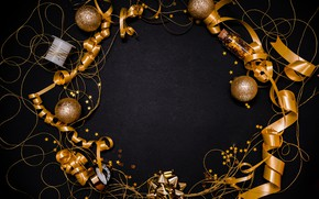 Picture photo, Tape, Balls, Stars, New year, Gold