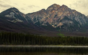 Picture forest, the sky, mountains, fog, lake, reflection, shore, the slopes, tops, ate, Canada, pond, water …