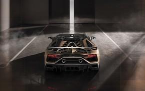 Picture machine, light, smoke, Lamborghini, lights, spoiler, sports car, rear view, exhaust, boxes, roadster, Aventador, SVJ