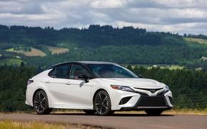 Picture white, hills, Toyota, sedan, 2018, Camry, XSE