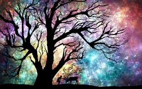 Picture the sky, girl, night, tree, deer
