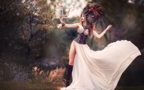 Picture girl, nature, pose, style, tree, owl, bird, feet, skirt, boots, feathers, outfit, corset, headdress, Pauline, …
