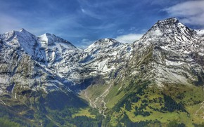 Picture the sky, clouds, snow, trees, mountains, nature, rocks, Austria, Гросглокнер