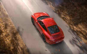 Picture Red, Auto, Road, Porsche, Machine, Red, Render, Carrera, Rendering, Sports car, Porsche 911 Carrera, Transport …