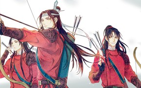 Picture bow, tape, arrows, long hair, quiver, archers, three guys, clan, Chinese clothing, Mo Dao Zu …
